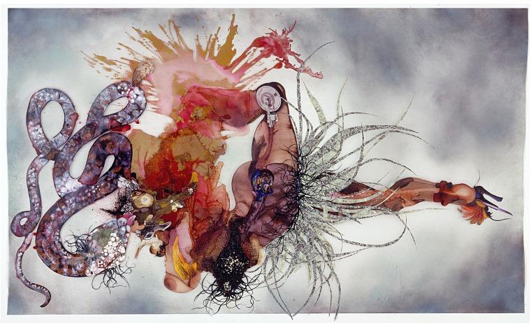 וונגצ'י מוטו, לא, אינני מתחרטת, 2007. דיו, צבע, טכניקה מעורבת, צמחים ופניני פלסטיק על מיילר. באדיבות האמנית וגלריה ויקטוריה מירו