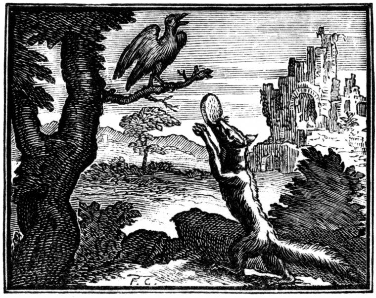فرانسوا شوبو، رسم لأمثال منتقاة تأليف جان دي لا فونتين، كلود بربين وداني تايري، باريس 1668، (الطبعة الأولى) 1678-79 (الطبعة الثانية), 1694 (الطبعة الثالثة) * م.ب.ر: الباحثون الذين يكتبون عن الغراب والثعلب لمرسيل بروترس (Broodthaers) يميلون لاستخدام هذه ال