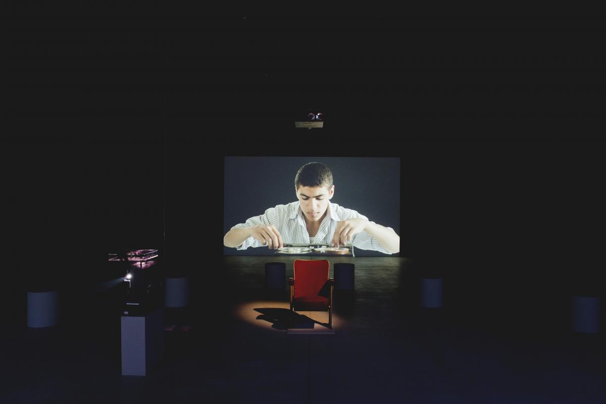 "Akram Zaatari. ""Letter to a Refusing Pilot,"" 2013. Installation view, Lebanese Pavilion, 55th International Venice Biennale. Photo: Marco Milan."
